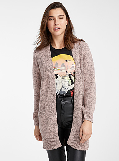 Le cardigan chiné manches bulle