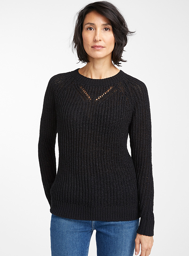 Contemporaine Black Openwork-collar ribbon knit sweater for women