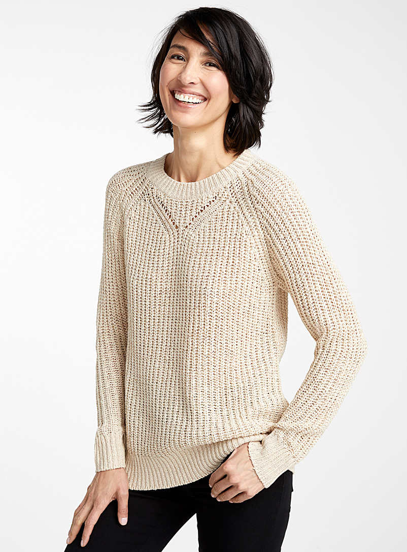 Contemporaine Sand Openwork-collar ribbon knit sweater for women