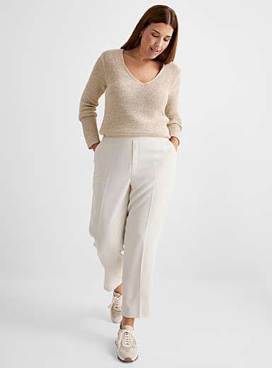 Contemporaine Sand Ribbon-knit V-neck sweater for women