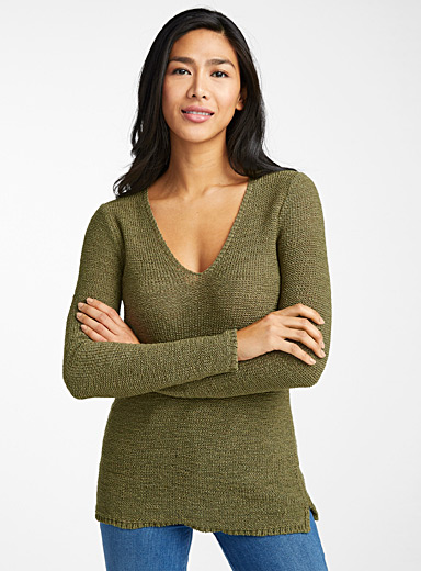Contemporaine Bottle Green Ribbon-knit V-neck sweater for women