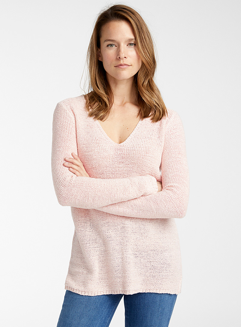 Contemporaine Pink Ribbon-knit V-neck sweater for women