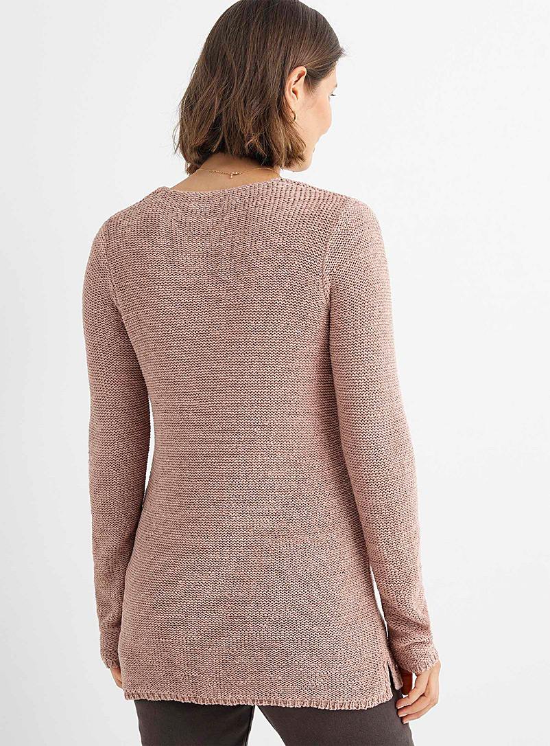 Contemporaine Bright Red Ribbon-knit V-neck sweater for women