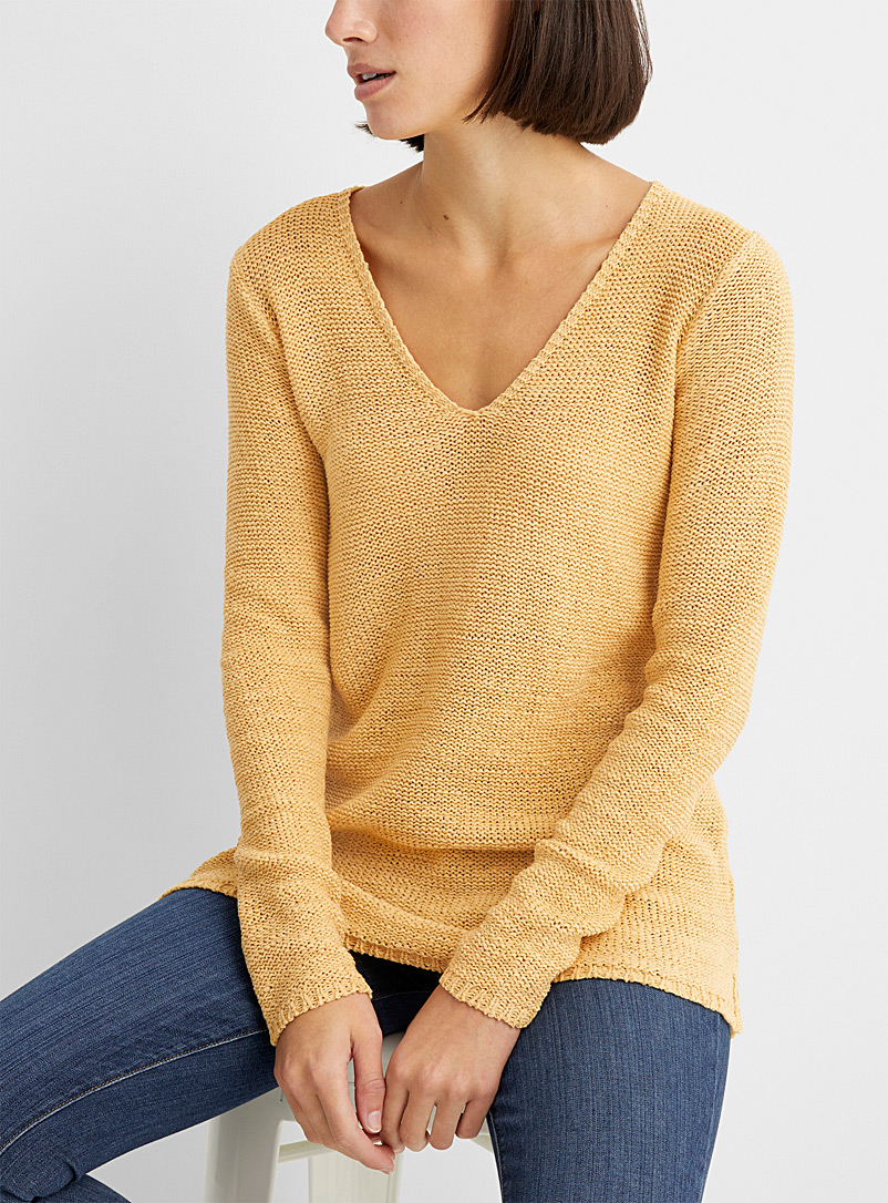 Contemporaine Medium Pink Ribbon-knit V-neck sweater for women