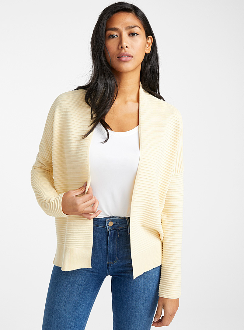 Contemporaine Light Yellow Ottoman knit open cardigan for women