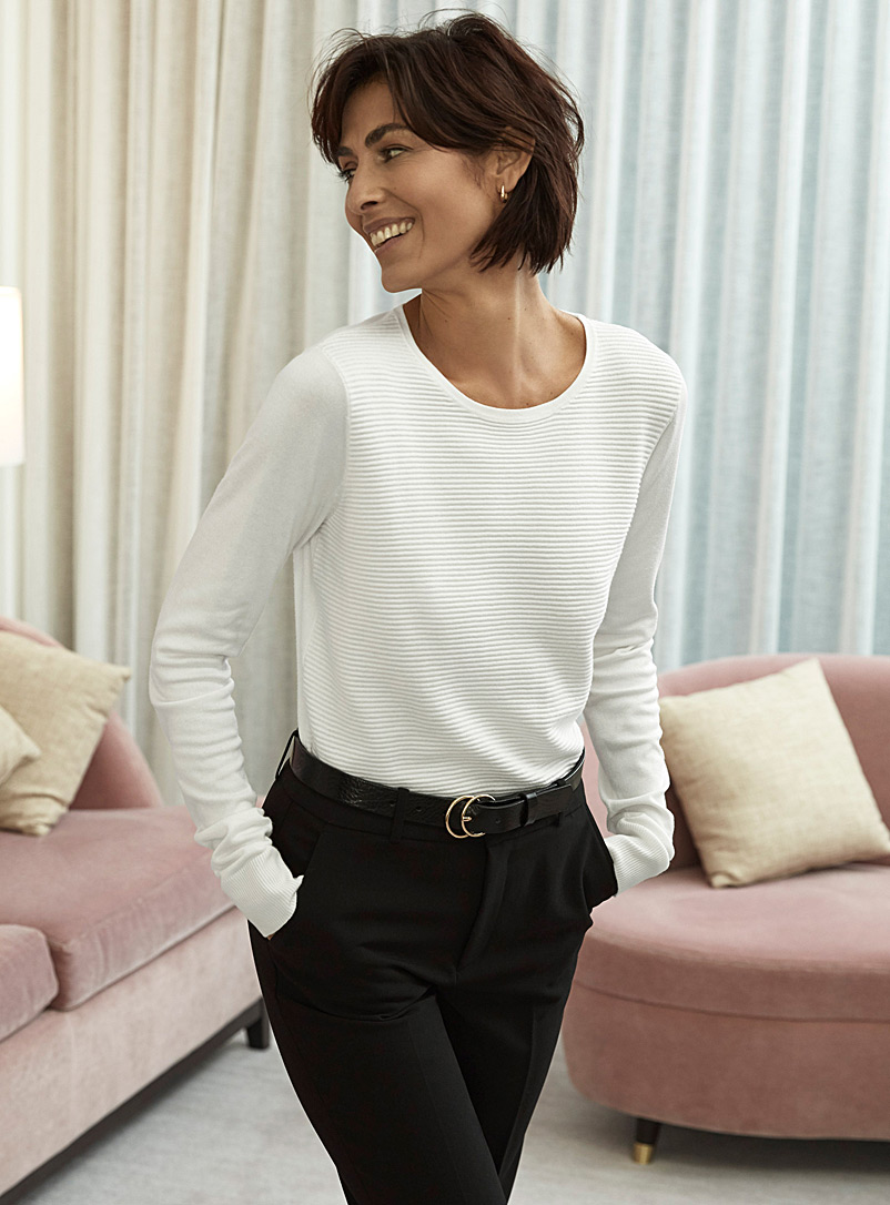 Contemporaine White Ottoman-insert sweater for women