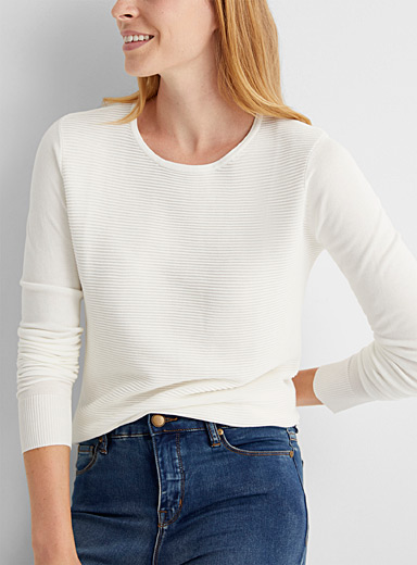 Contemporaine: Le pull insertion ottoman Ivoire blanc os pour femme
