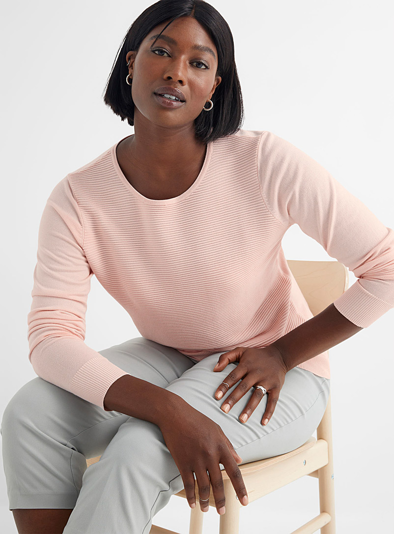 Contemporaine Dusky Pink Ottoman-insert sweater for women