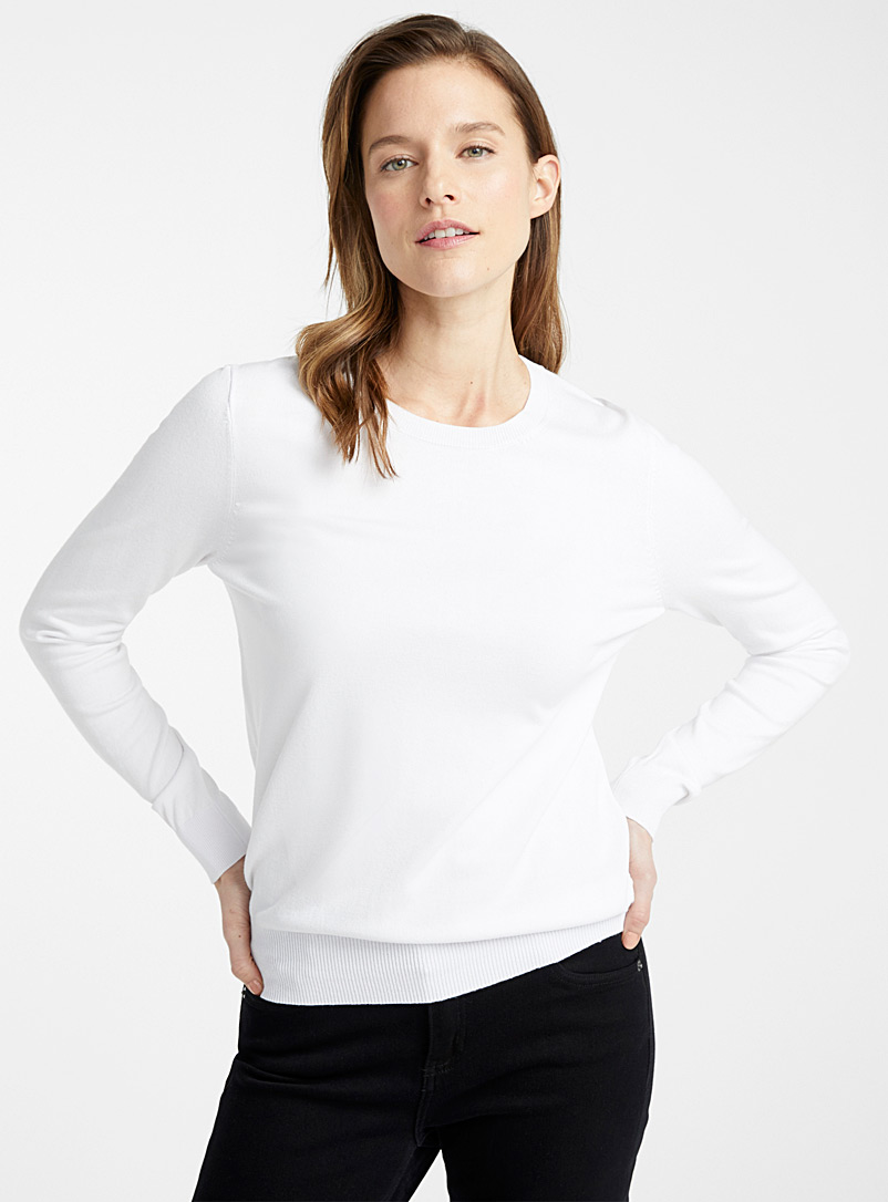 Contemporaine White Fine knit crew-neck sweater for women