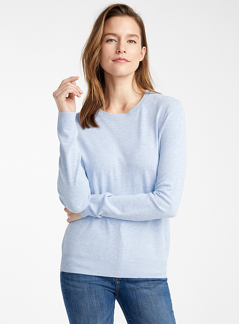 Contemporaine Baby Blue Fine knit crew-neck sweater for women