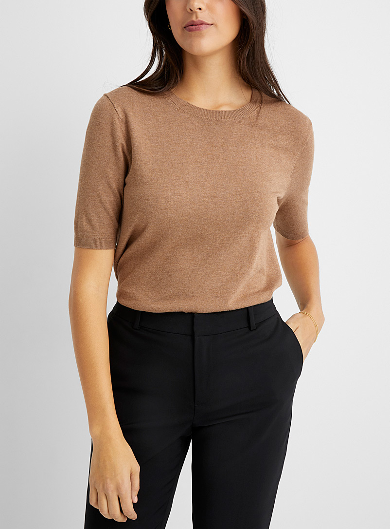 Contemporaine Honey Fine knit short-sleeve sweater for women
