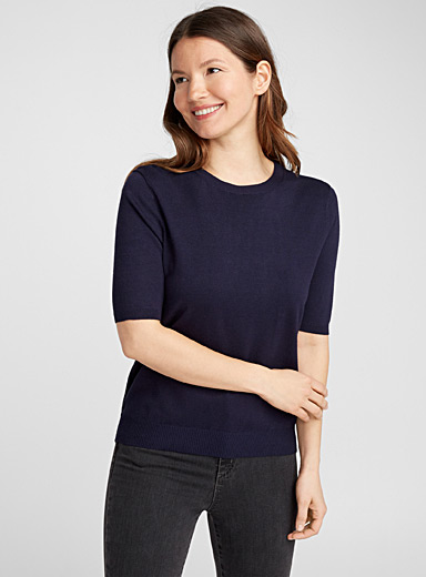 Le pull manches courtes fin tricot