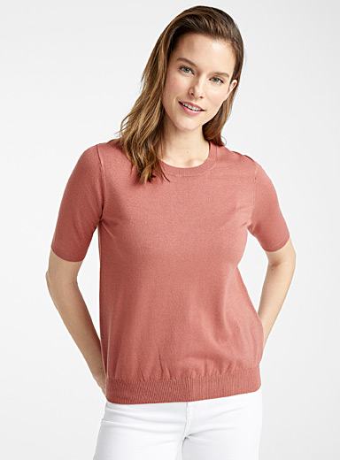 Contemporaine Pink Fine knit short-sleeve sweater for women