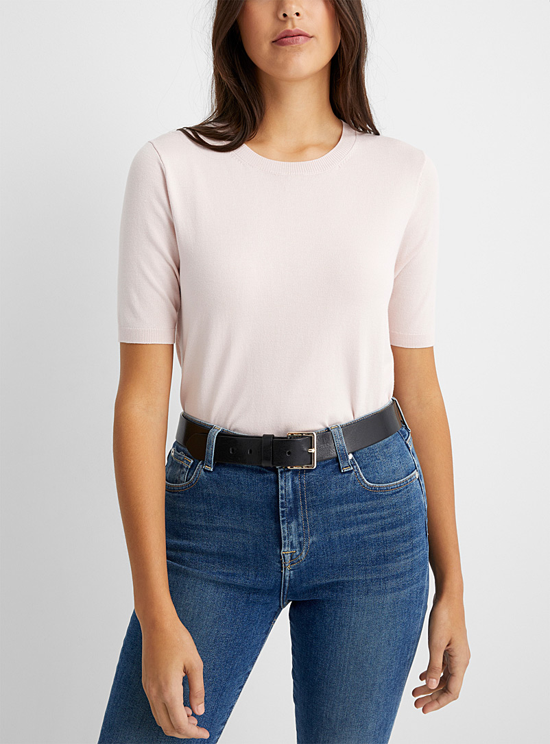 Contemporaine Dusky Pink Fine knit short-sleeve sweater for women