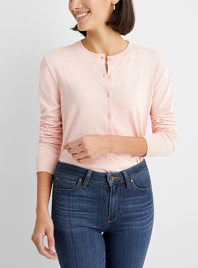Contemporaine Dusky Pink Fine knit buttoned cardigan for women