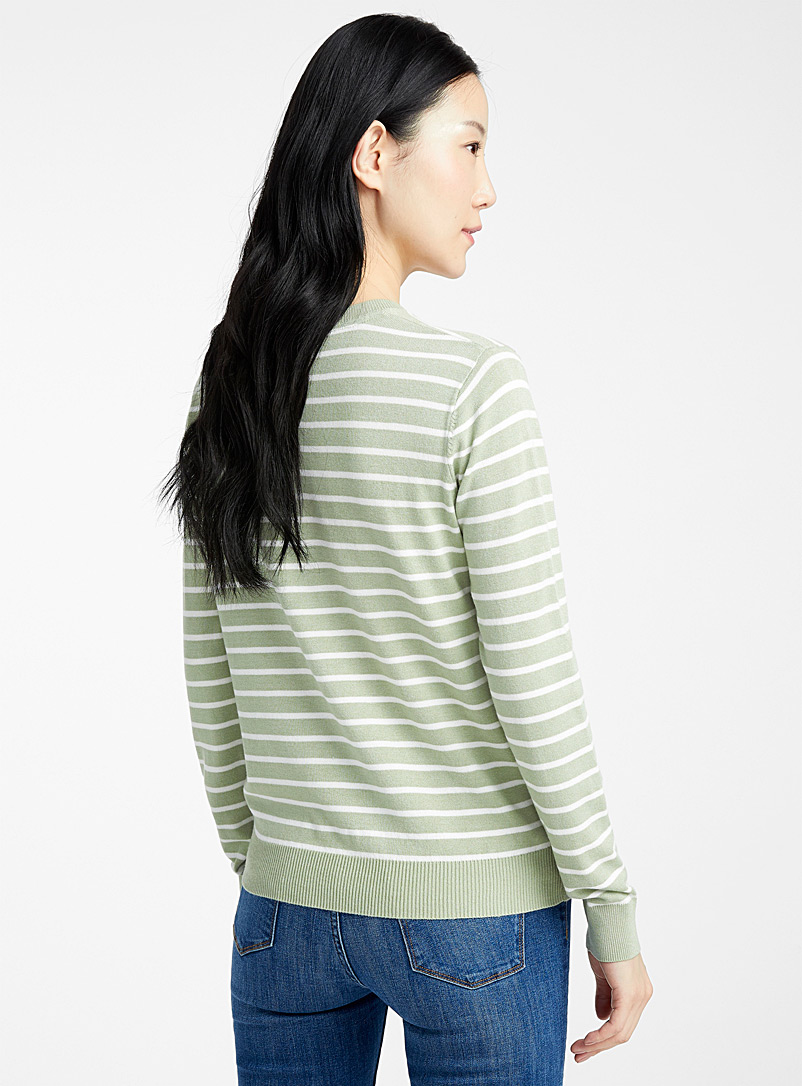 Striped crew-neck sweater - Sweaters - Lime Green