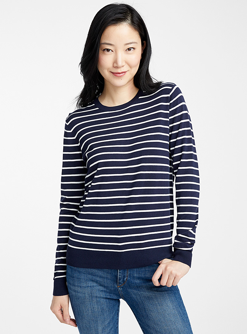 Contemporaine Marine Blue Striped crew-neck sweater for women