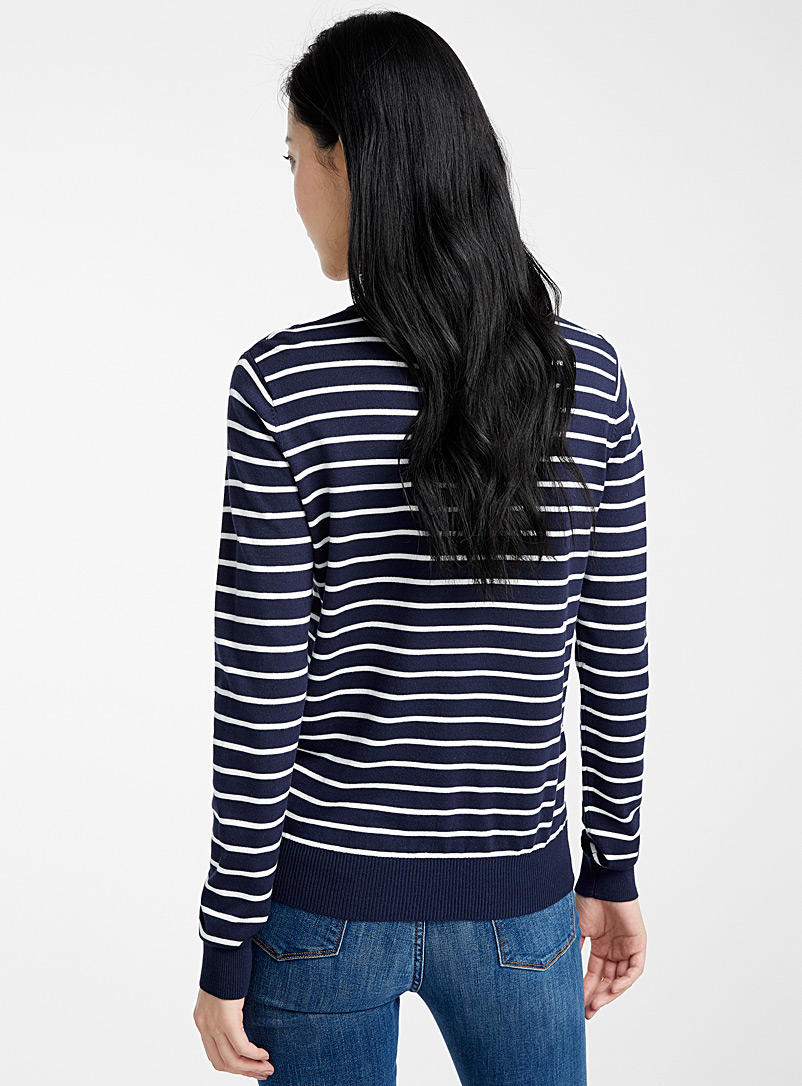 Contemporaine Baby Blue Striped crew-neck sweater for women