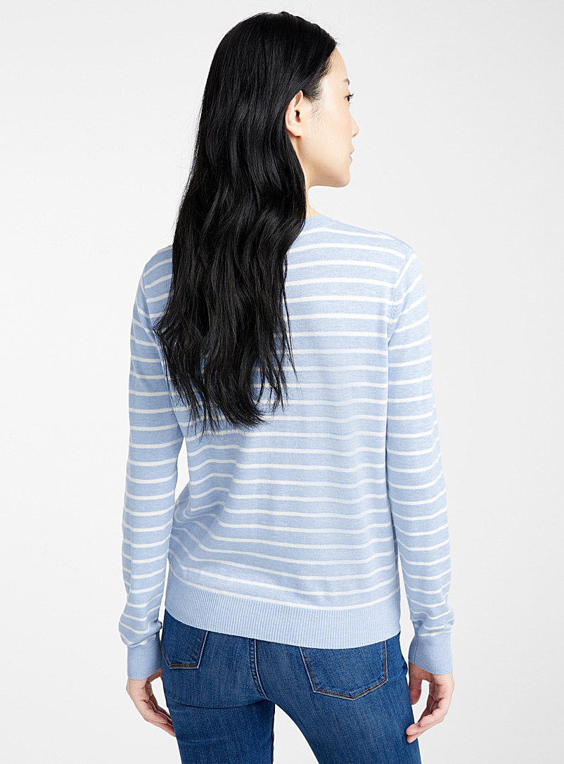 Striped crew-neck sweater - Sweaters - Baby Blue