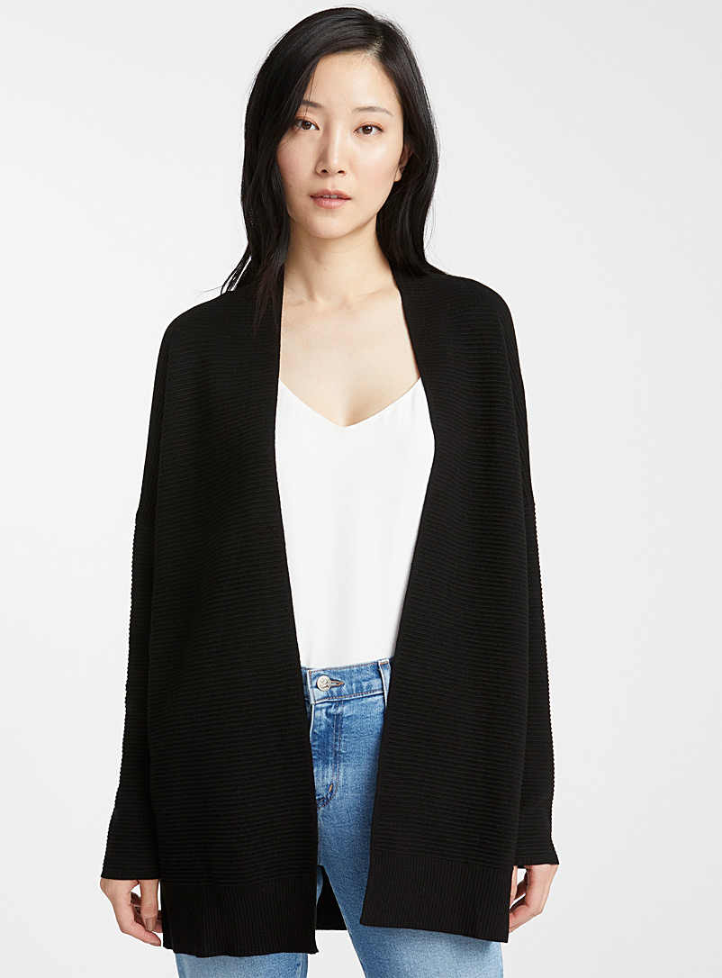 Contemporaine Black Ottoman knit open cardigan for women