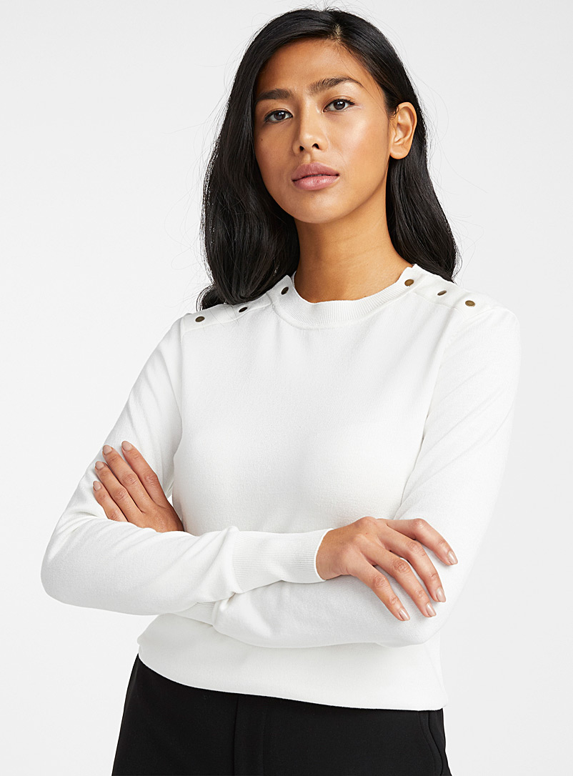 Contemporaine Ivory White Button shoulder sweater for women