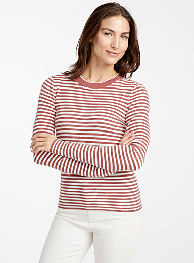 Contemporaine Dusky Pink Twin-stripe ribbed sweater for women