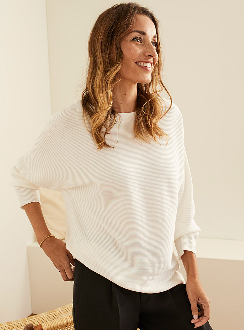 Batwing-sleeve ribbed sweater