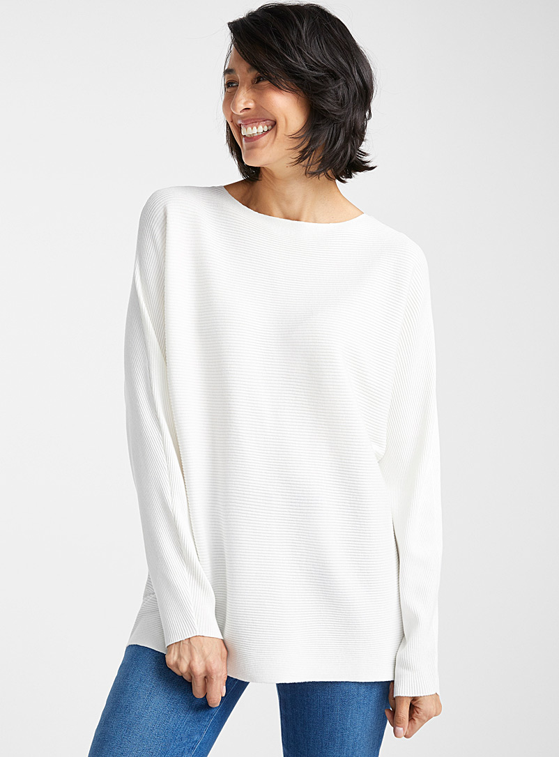 Contemporaine Ivory White Batwing-sleeve ribbed sweater for women
