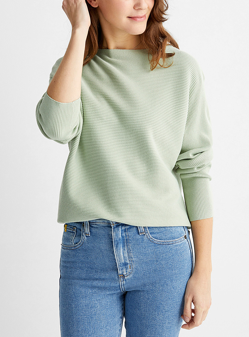 Contemporaine Black Batwing-sleeve ribbed sweater for women