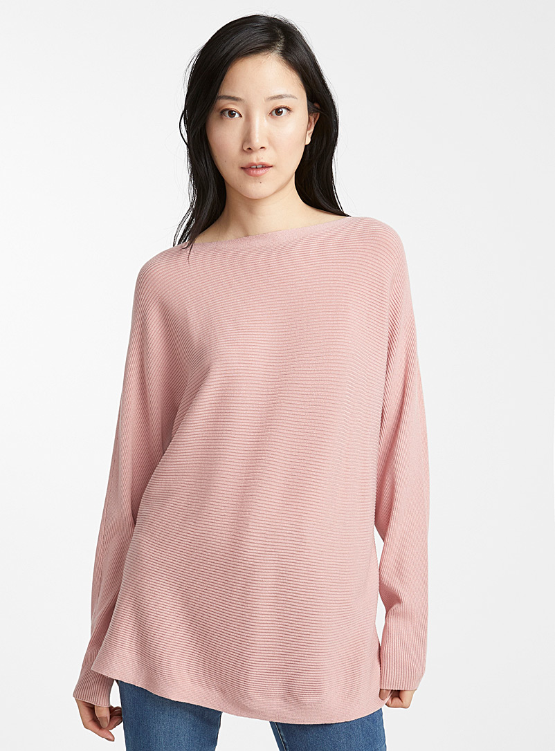 Contemporaine Pink Batwing-sleeve ribbed sweater for women