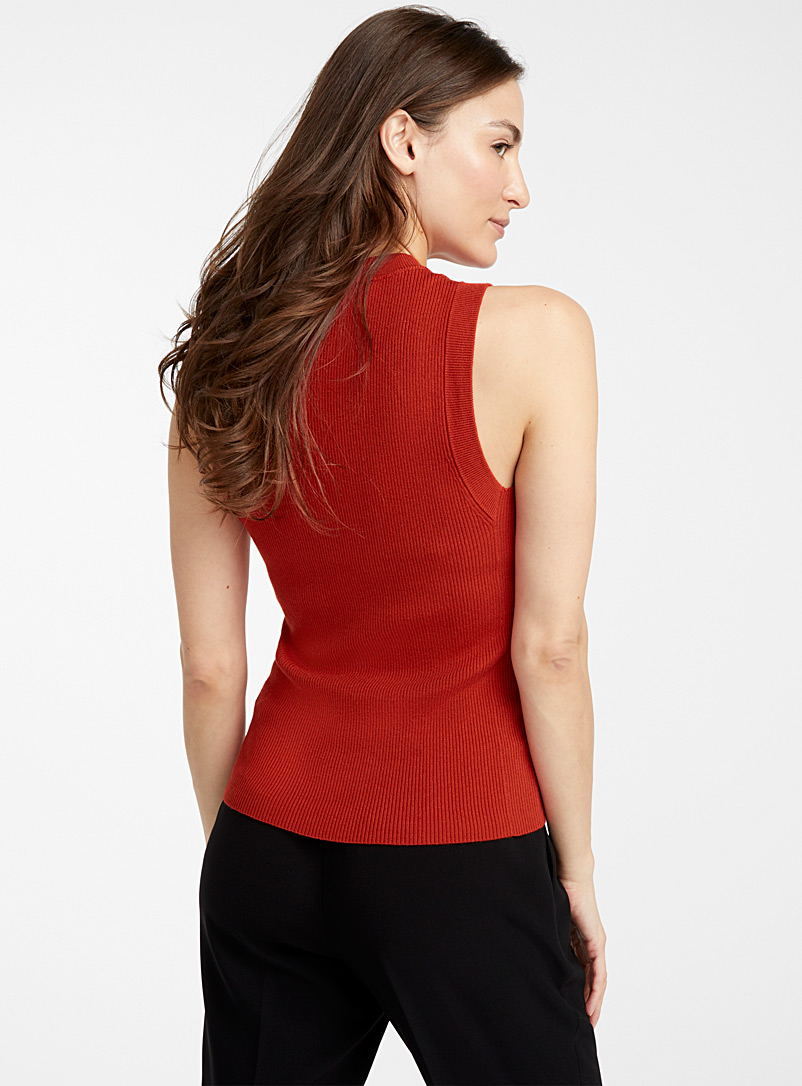 Contemporaine Dark Orange Fitted ribbed tank top for women