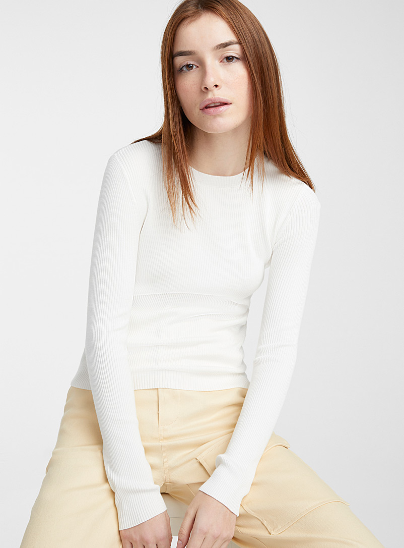 Twik Ivory White Ribbed-knit crew-neck sweater for women