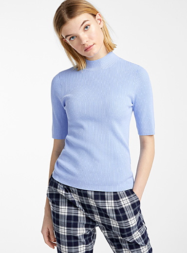Ribbed-knit mock-neck sweater