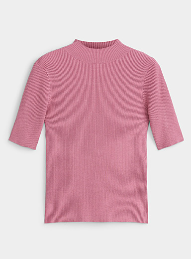 Twik Pink Ribbed-knit mock-neck sweater for women