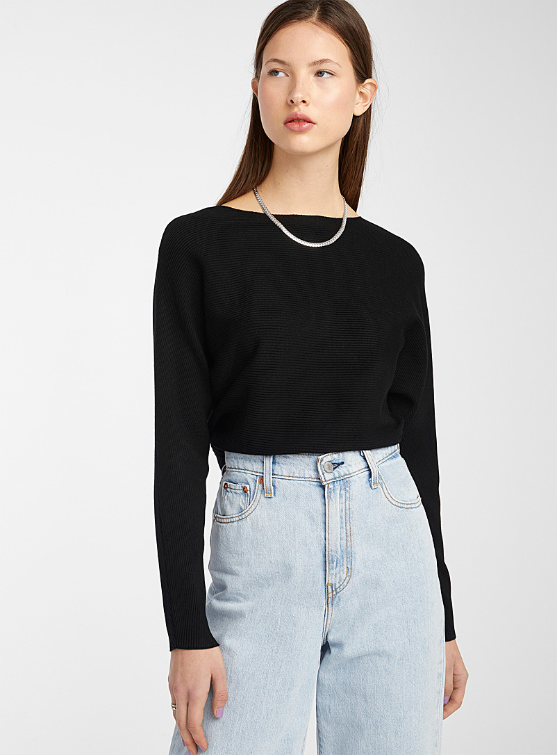 Boat neck ribbed sweater - Sweaters - Black