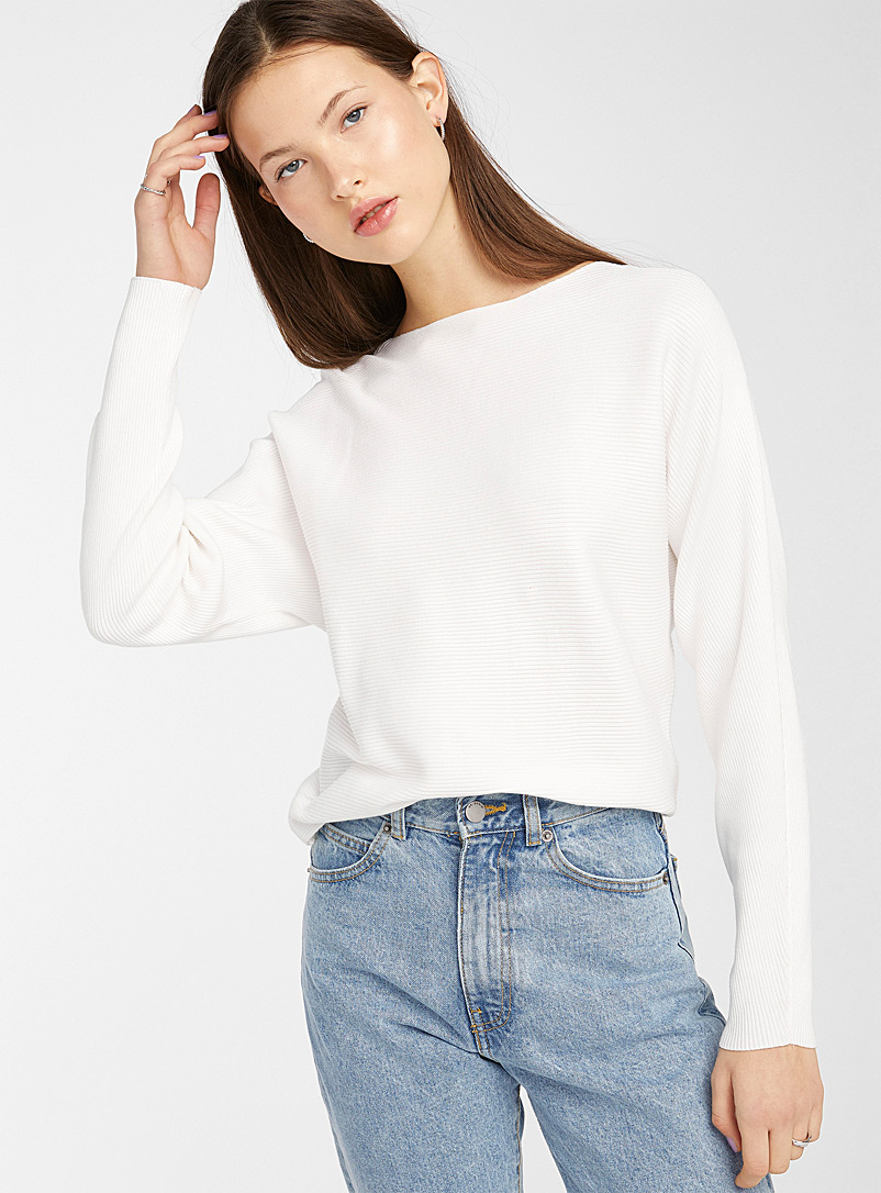 Twik Ivory White Boat neck ribbed sweater for women