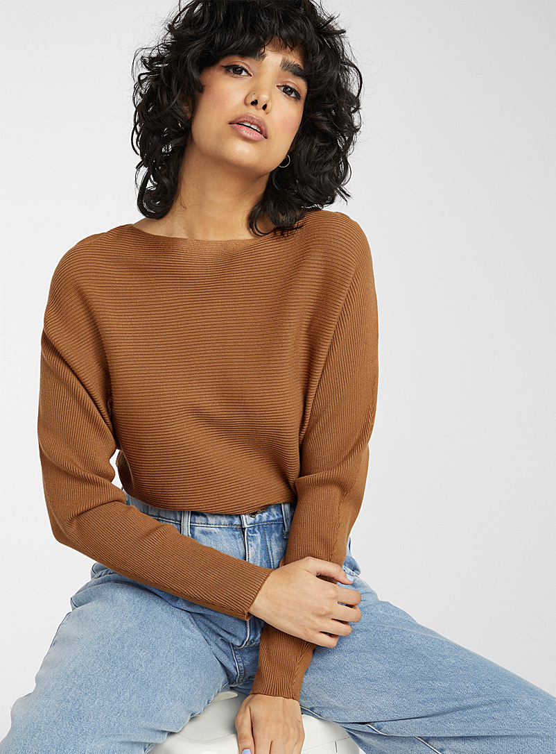 Boat neck ribbed sweater - Sweaters - Brown