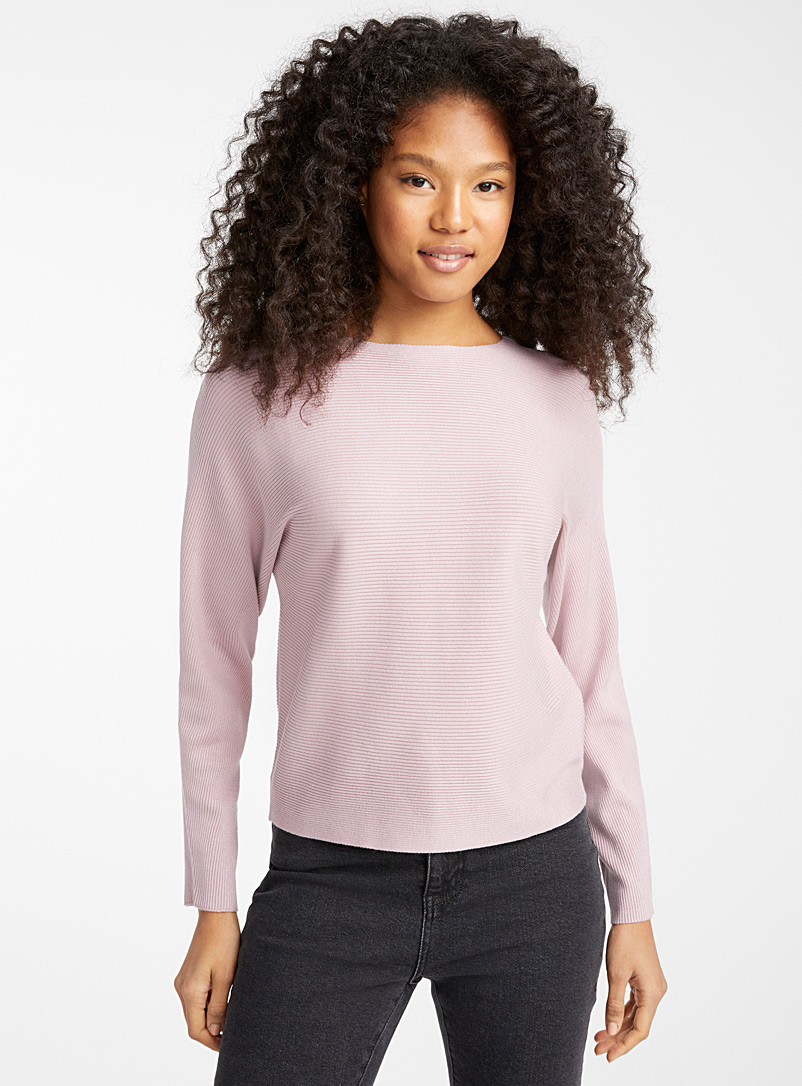 Boat neck ribbed sweater - Sweaters - Dusky Pink