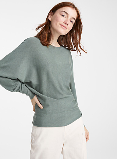 Batwing-sleeve boat neck sweater