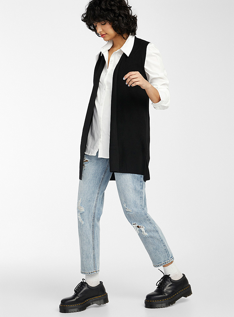 Twik Black Ribbed sleeveless cardigan for women