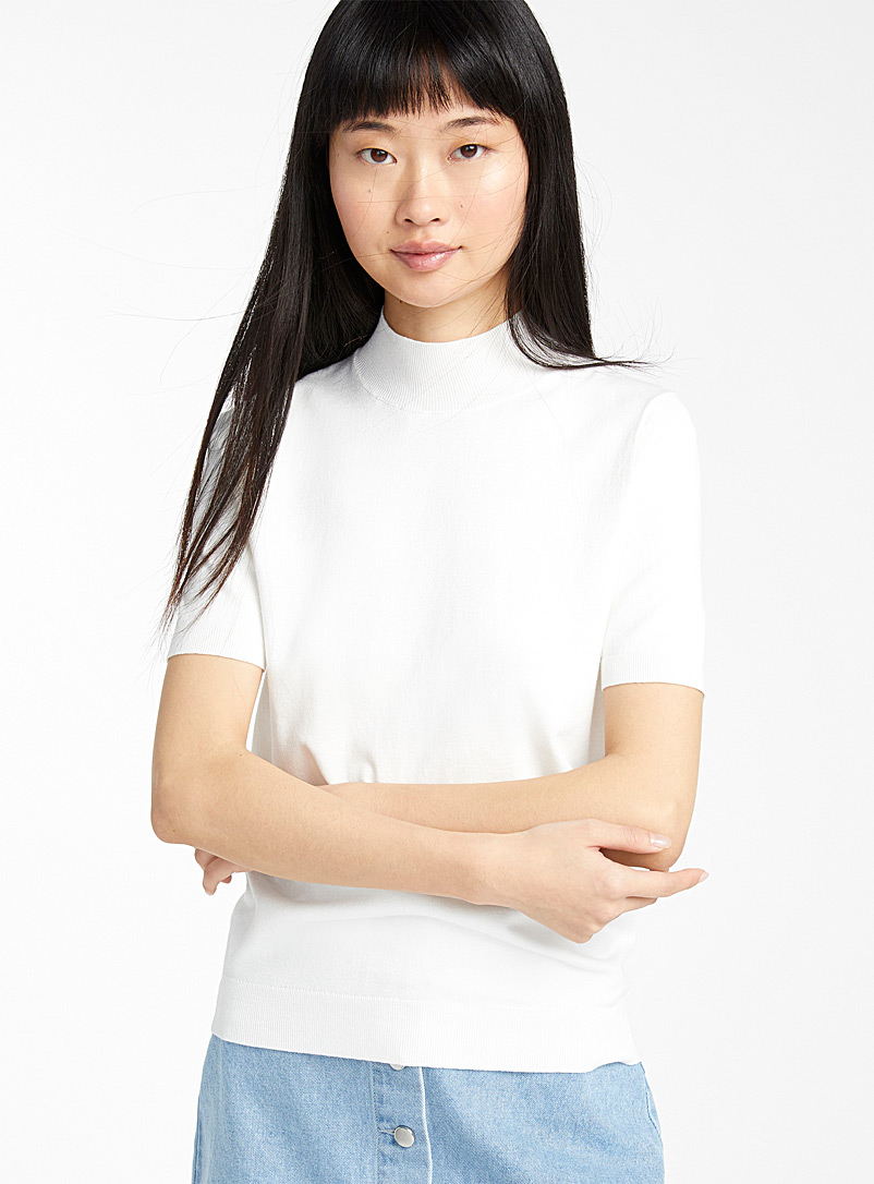 Twik Ivory White Basic mock neck for women