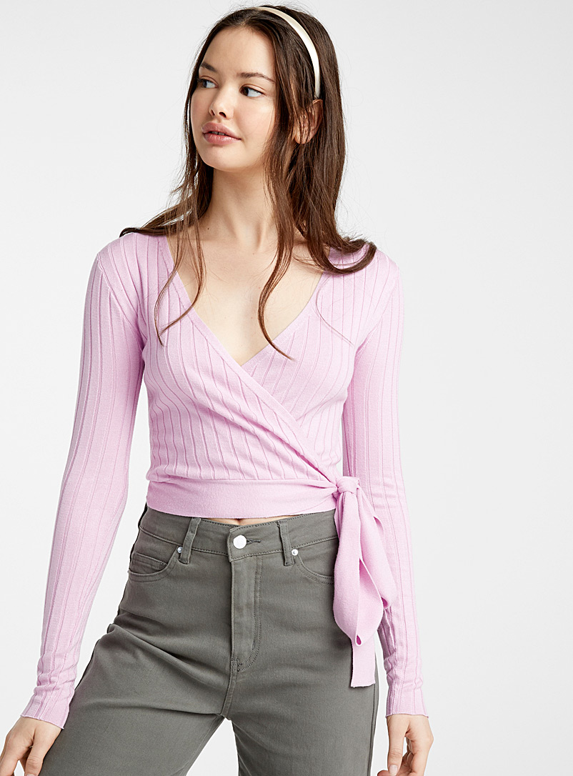 Twik Dusky Pink Crossover rib knit sweater for women