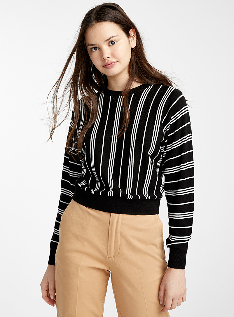 Twik Black Vertical stripe sweater for women