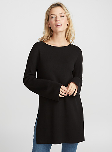 Contemporaine Black Bell-sleeve tunic for women