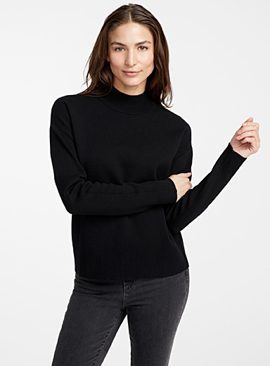 Contemporaine Black Structured mock-neck sweater for women