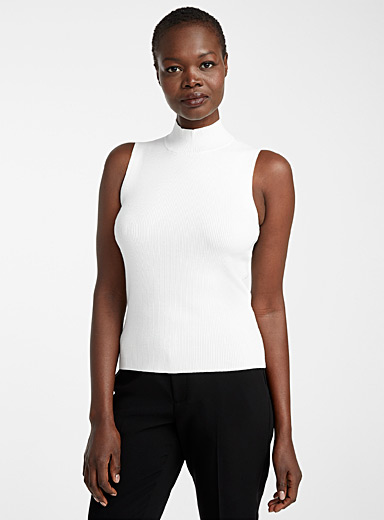 Ribbed sleeveless mock-neck top