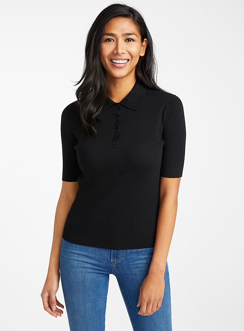 Contemporaine Black Fitted ribbed polo for women