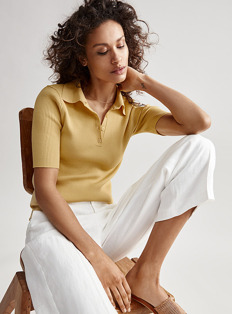 Contemporaine Light Yellow Fitted ribbed polo for women
