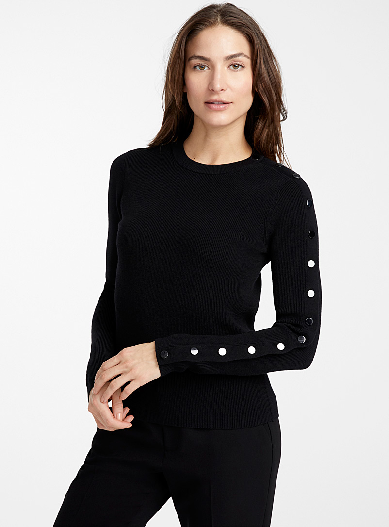 Contemporaine Black Metallic button ribbed sweater for women