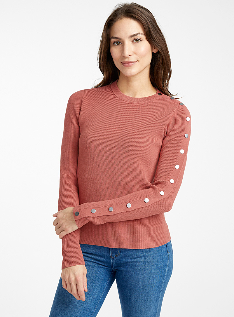metallic-button-ribbed-sweater
